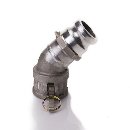 "Aluminum 4"" Male Camlock x 4"" Female Camlock 45 Degree Elbow (USA)"