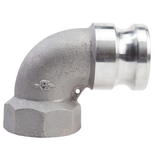 "Aluminum 4"" Male Camlock x 4"" Female NPT 90 Degree Elbow (USA)"