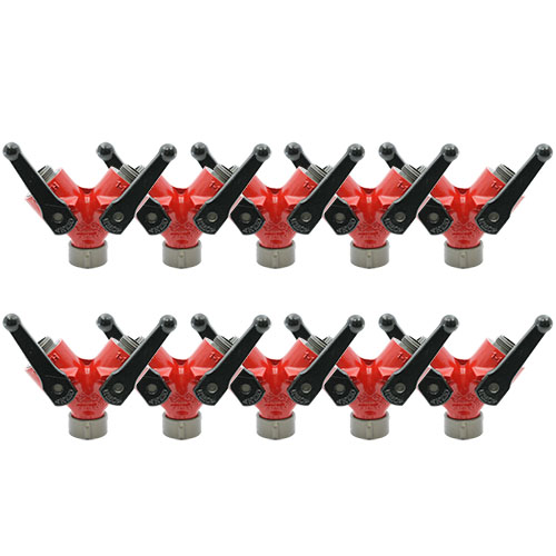 """Forestry Aluminum 1 1/2"""" NH Inlet X (2) 1 1/2"""" NH Outlet Wye Valve (10-Pack)"""