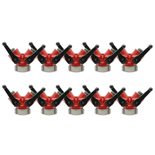 """Forestry Aluminum 2 1/2"""" NH Inlet X (2) 1 1/2"""" NH Outlet Wye Valve (10 Pack)"""