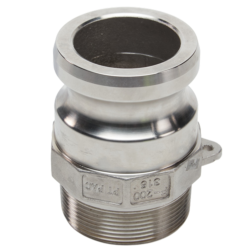 """Stainless Steel 2"""" Camlock Male x 2"""" NPT Male"""