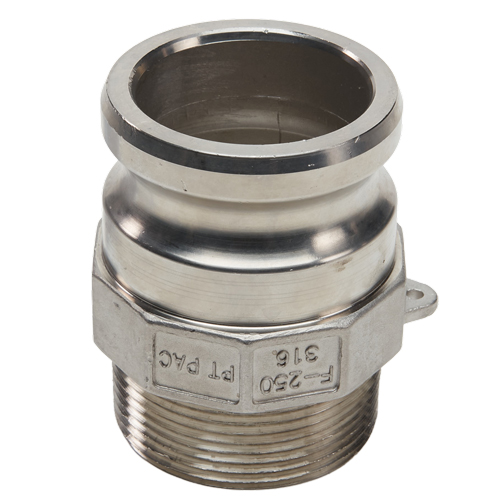 """Stainless Steel 2 1/2"""" Camlock Male x 2 1/2"""" NPT Male"""