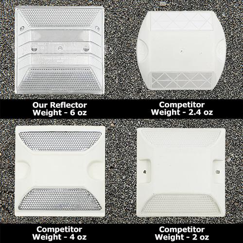 Peel-N-Stick White Reflective Road Marker (50 Pack) - RMPWH-50