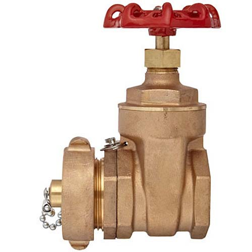 "Brass Forged Non-Rising Stem Gate Valve 2 1/2"" Female NPT x 2 1/2"" Male NH"